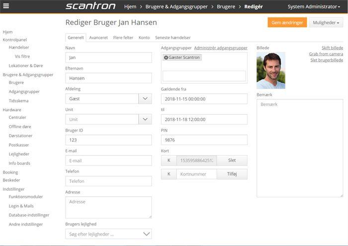 nova bruger - Passerkontroll för porttelefoni